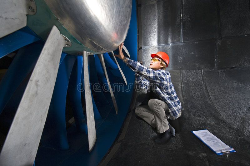 Inspecting the windtunnel stock photo