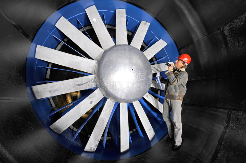 Inspecting a windtunnel royalty free stock photos
