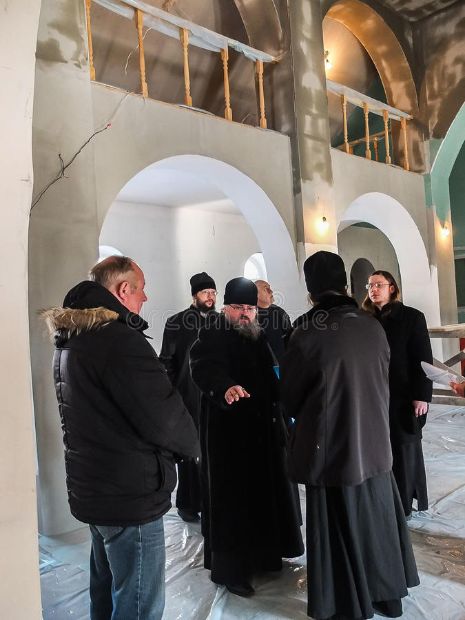 Inspection of the construction of the Church and the Episcopal service in the Kaluga region of Russia. stock image