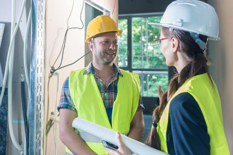 Inspection on the construction site stock photography