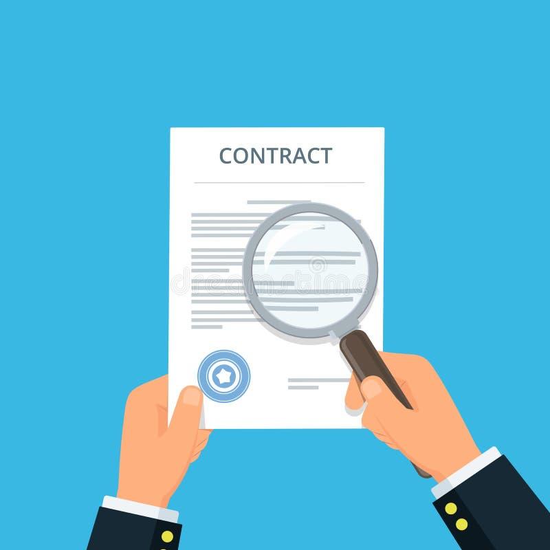 Inspection de contrat pour la lutte contre la fraude Mains en gros plan d'homme d'affaires tenant le contrat et la loupe illustration de vecteur