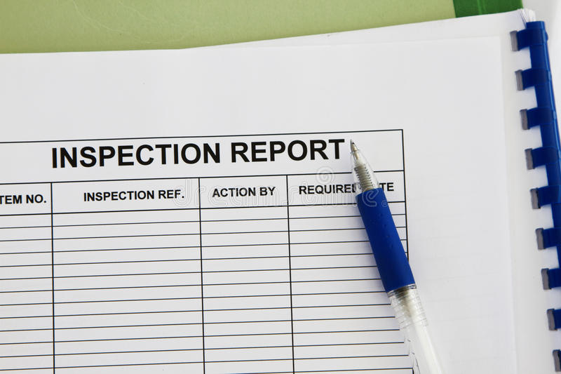 Inspectionl report stock photos