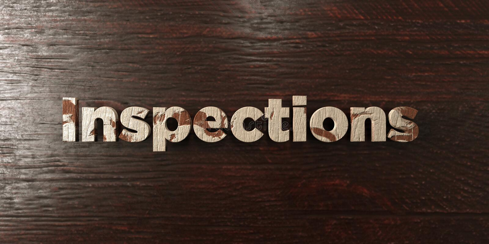 Inspections - grungy wooden headline on Maple - 3D rendered royalty free stock image. This image can be used for an online website banner ad or a print royalty free illustration