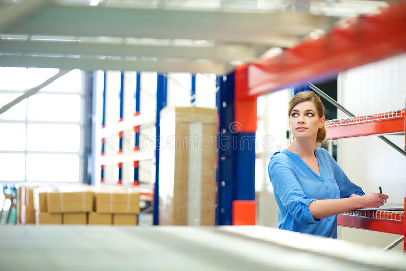 Inspector de la mujer de negocios que hace inventario en un almacén imagen de archivo libre de regalías