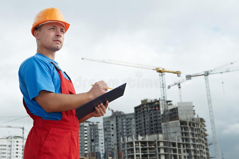 Inspector del constructor en la construcción fotos de archivo