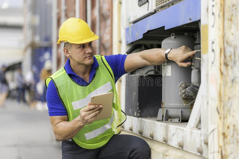 Inspector Engineer working on equipment inspection royalty free stock photography