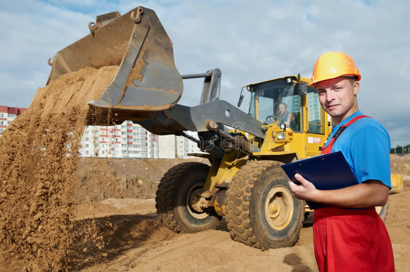 Inspector feliz del constructor en foto de archivo libre de regalías