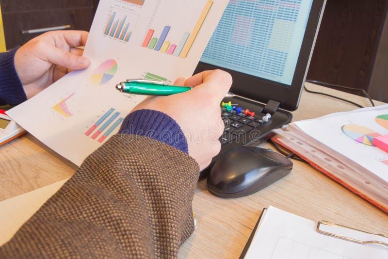 Inspector financiero y secretaria del hombre del administrador que hacen la balanza del informe, del cálculo o del control Inspec imagen de archivo libre de regalías