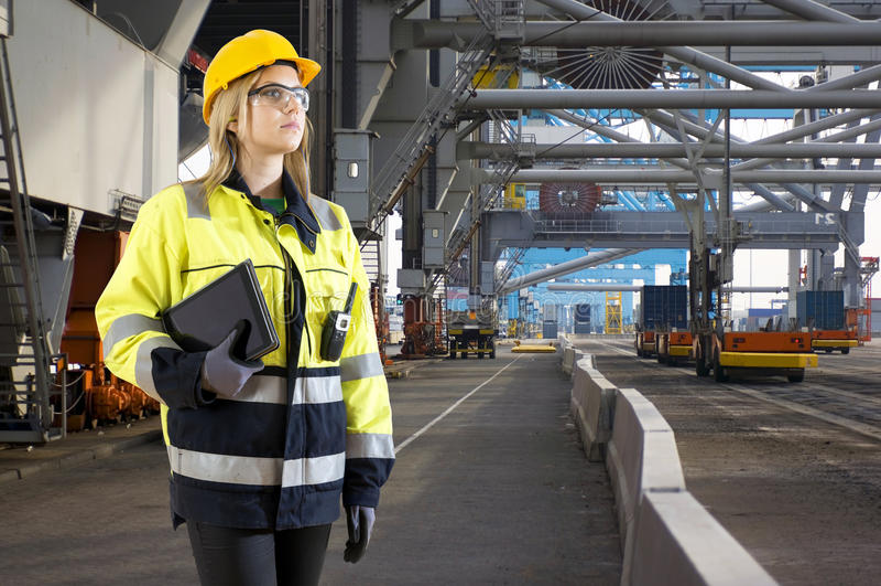 Inspector industrial del puerto foto de archivo libre de regalías