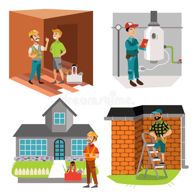Inspectores que comprueban el sistema del calentador de agua del sitio y del tejado de la casa ilustración del vector
