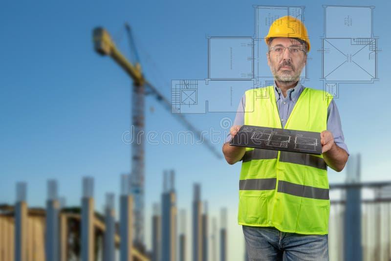 Inspektör i konstruktionsplats arkivfoto