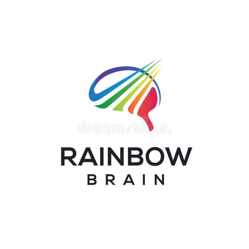 Inspiração colorida do projeto do logotipo do arco-íris e do cérebro ilustração stock