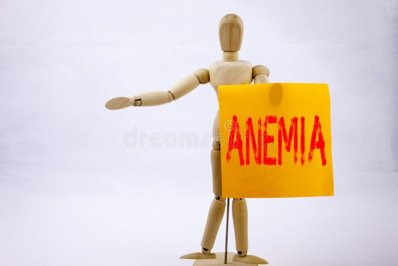 Inspiração conceptual do subtítulo do texto da escrita da mão que mostra o conceito do negócio da anemia para o wr não plástico d imagem de stock royalty free