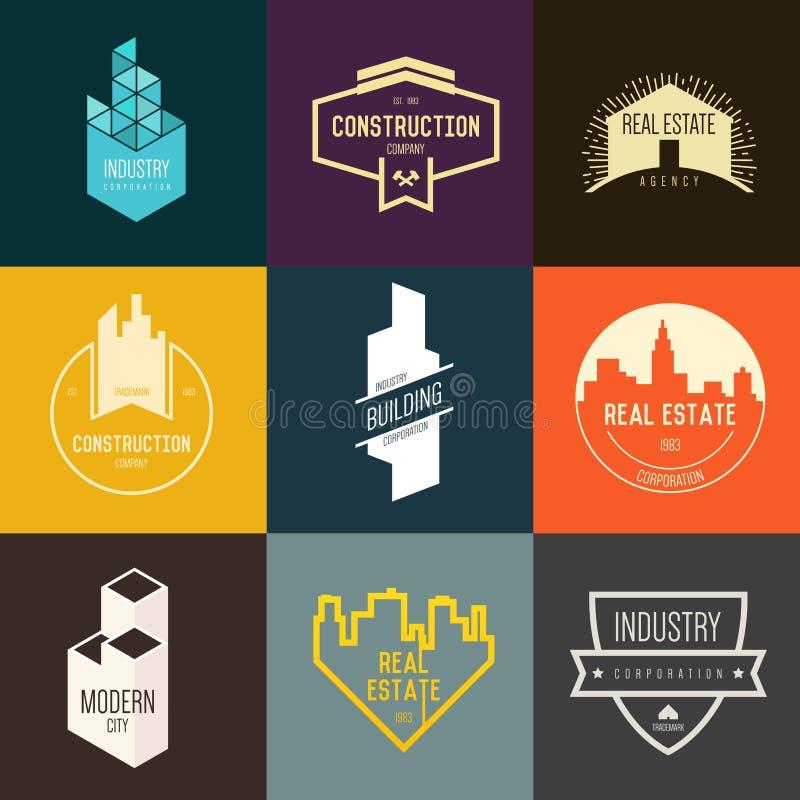 Inspiração do logotipo para empresas de construção civil, agências imobiliárias reais ou empresas arquitetónicas ilustração royalty free