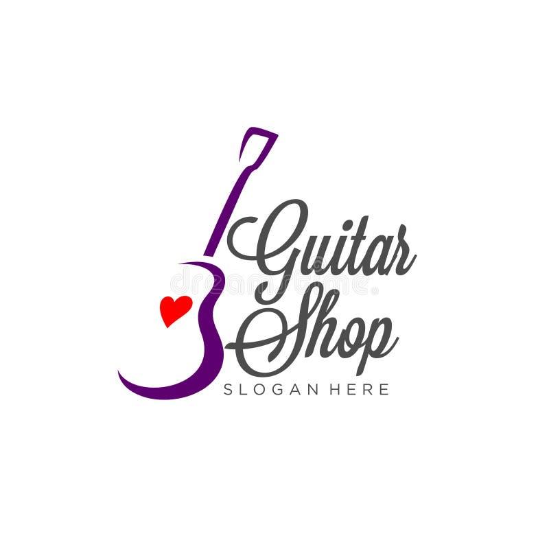 Inspiração do projeto do logotipo da guitarra, inspiração do projeto do logotipo da loja da guitarra ilustração stock