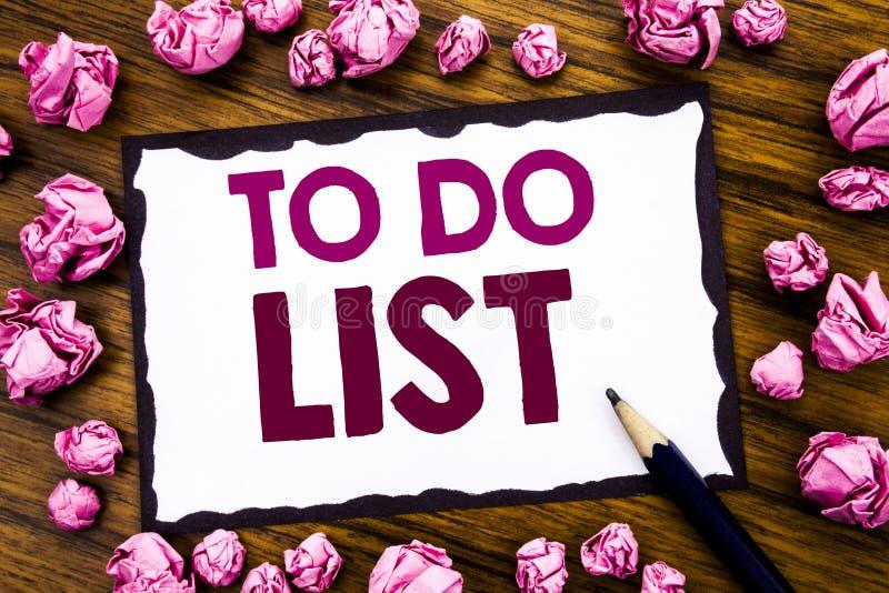 A inspiração do subtítulo do texto da escrita da mão que mostra para fazer o conceito do negócio da lista para o plano alista Rem imagem de stock