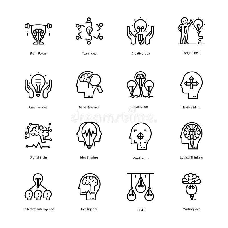 Inspiração e Brain Line Icons ilustração stock