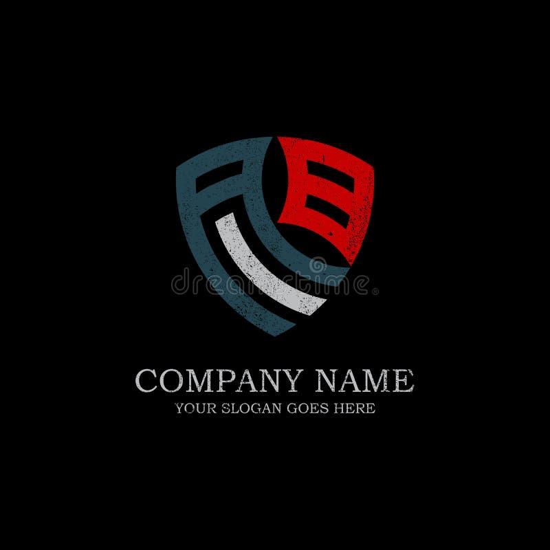 Inspiração inicial do logotipo da letra do AA, projeto do logotipo do protetor do vintage ilustração stock