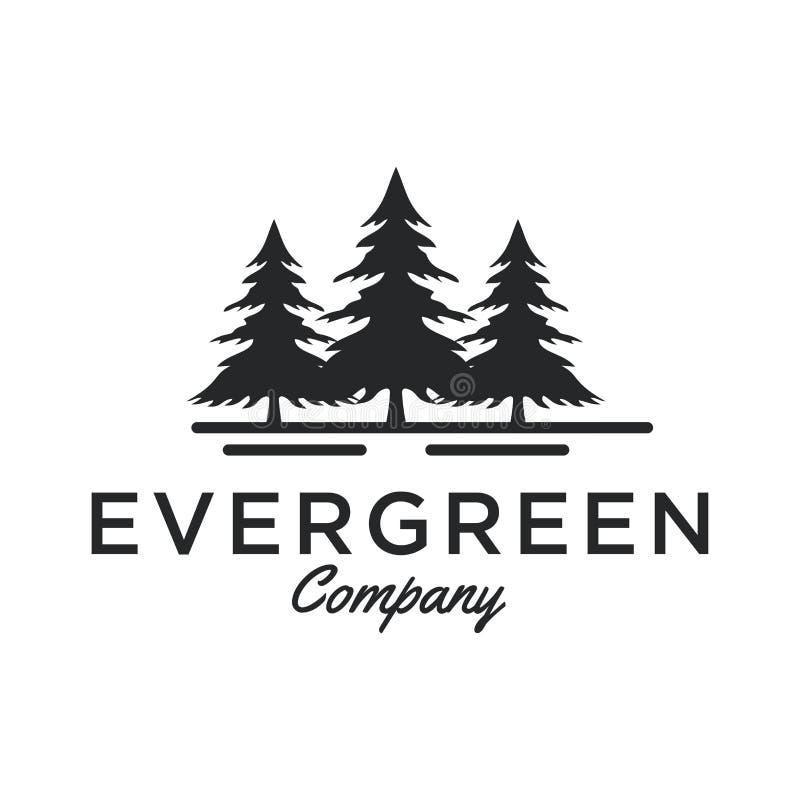 Inspiração sempre-verde/do pinheiro logotipo do projeto - vetor ilustração royalty free