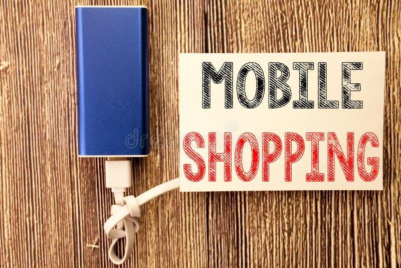 Inspiración conceptual del subtítulo del texto de la escritura de la mano que muestra compras móviles Concepto del negocio para l fotos de archivo libres de regalías