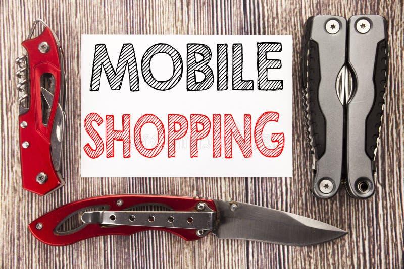 Inspiración conceptual del subtítulo del texto de la escritura de la mano que muestra compras móviles Concepto del negocio para l imagen de archivo libre de regalías
