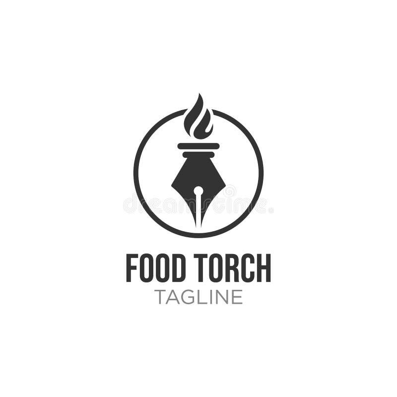 Inspiración de lujo elegante del diseño del logotipo de la llama de la antorcha con el icono de la pluma stock de ilustración