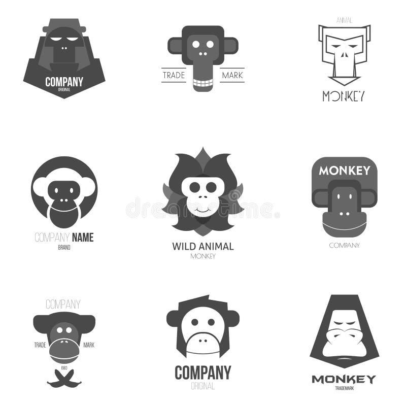 Inspiración del logotipo para las tiendas, las compañías, la publicidad o el otro sector con el mono ilustración del vector