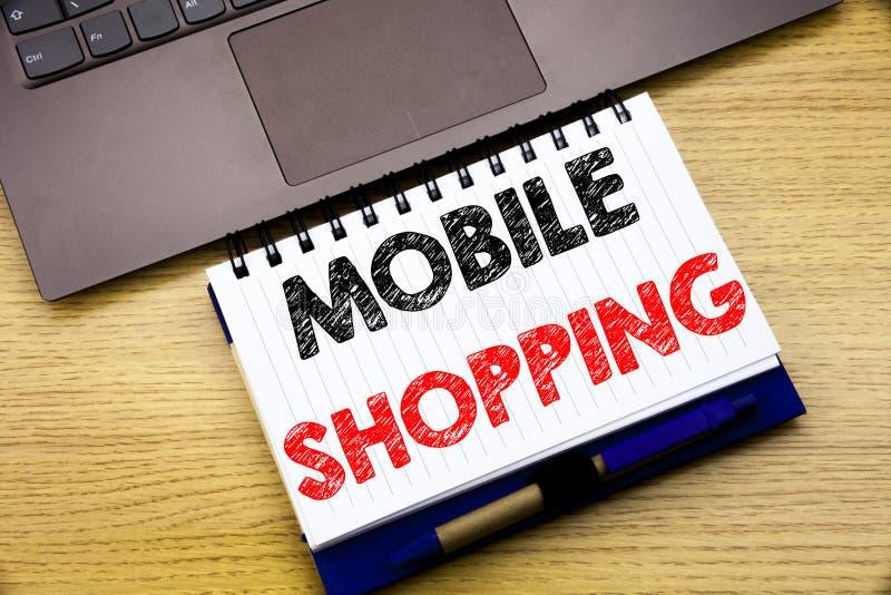 Inspiración del subtítulo del texto de la escritura de la mano que muestra compras móviles Concepto del negocio para la orden en  foto de archivo