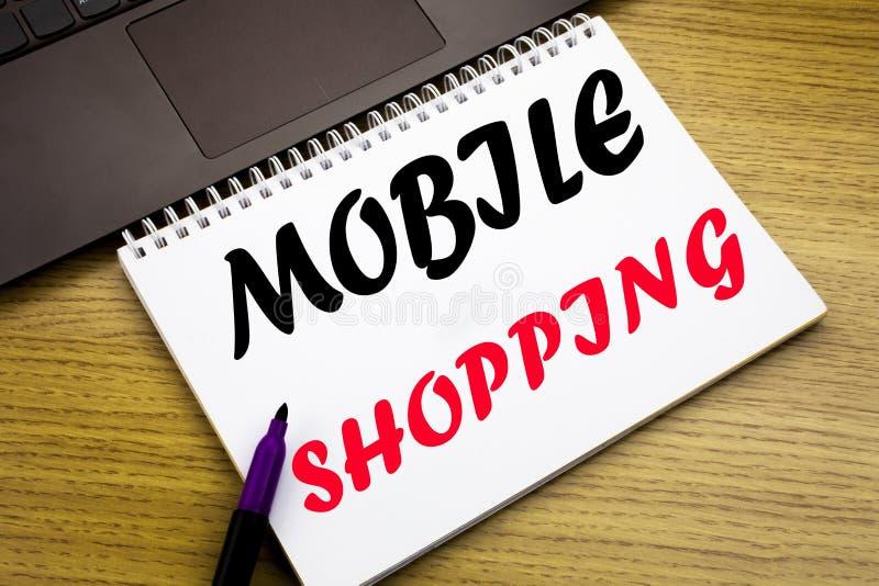 Inspiración del subtítulo del texto de la escritura de la mano que muestra compras móviles Concepto del negocio para la orden en  imagen de archivo libre de regalías