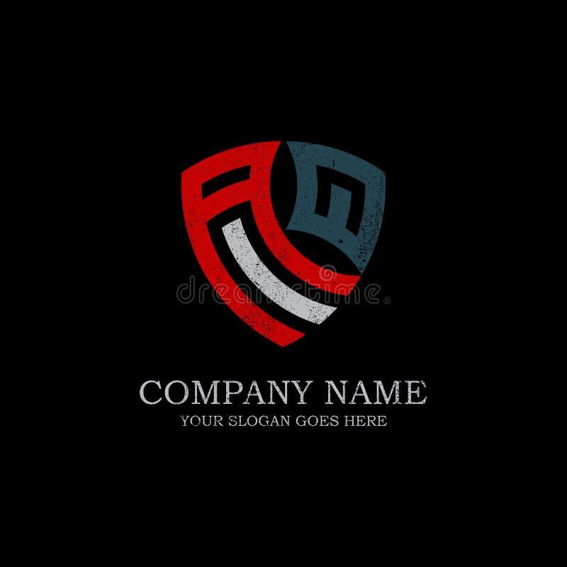 Inspiración inicial del logotipo de la letra de AQ, plantilla del diseño del logotipo del escudo del vintage imágenes de archivo libres de regalías