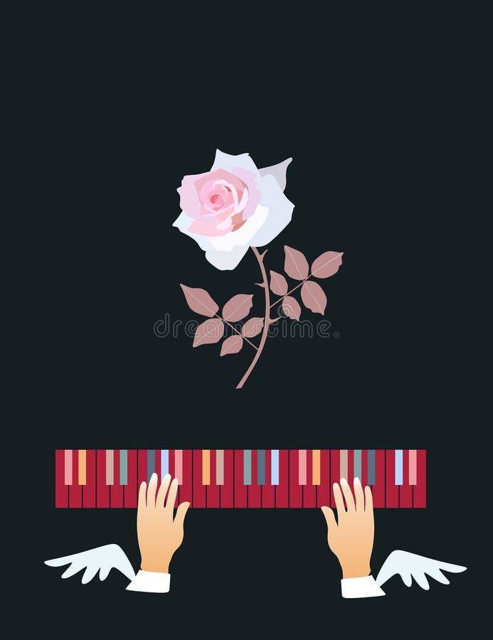 inspiración Las manos coas alas juegan en las llaves multicoloras del piano Rose rosada hermosa en fondo negro ilustración del vector