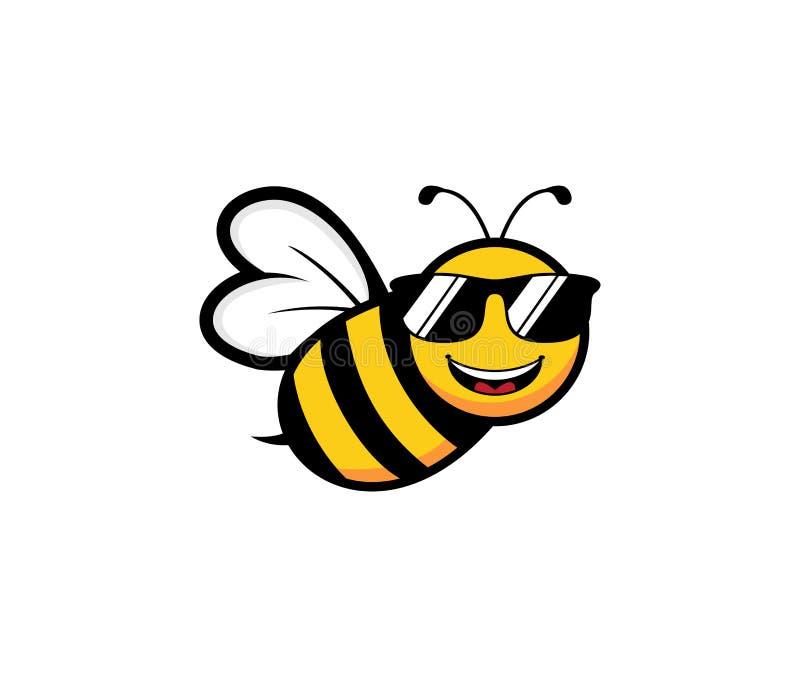inspiración linda del diseño del logotipo del vector del carácter de la mascota de la abeja de la miel ilustración del vector