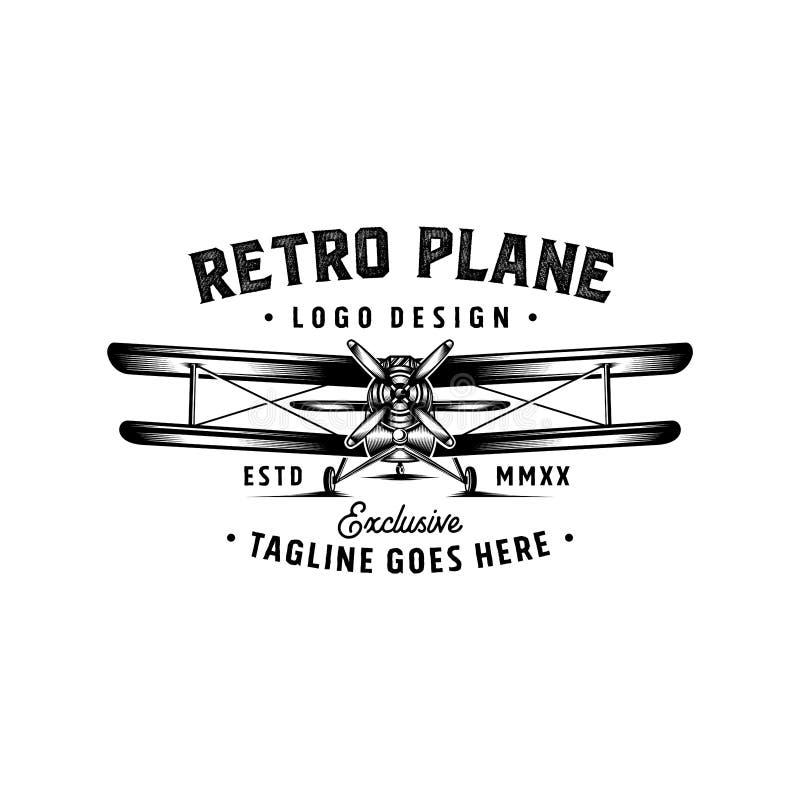 Inspiración plana retra del diseño del logotipo - inspiración retra del diseño del logotipo de los aviones libre illustration