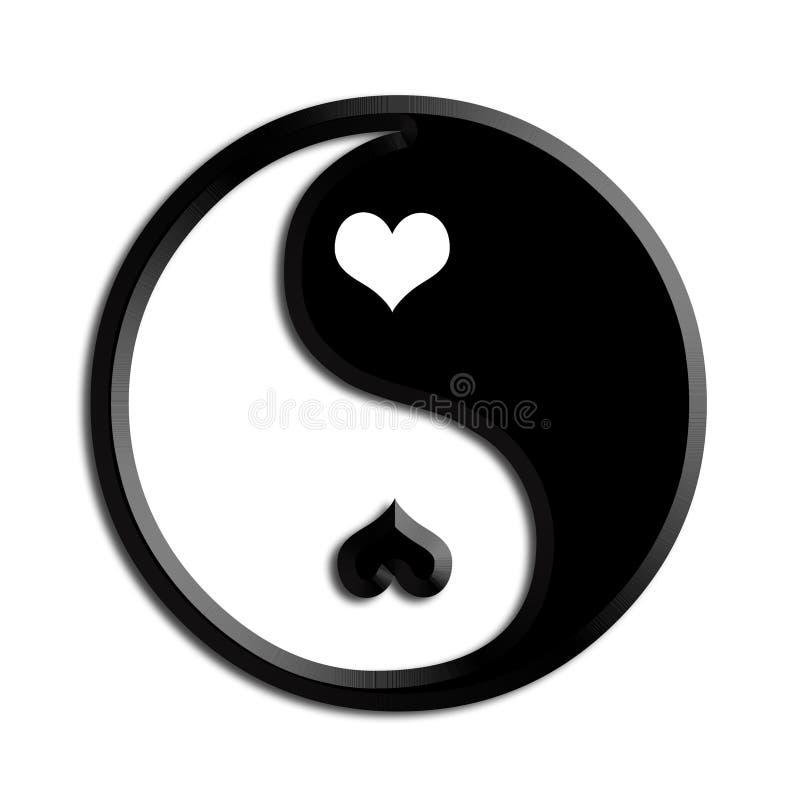 Inspiración ying contraste del ejemplo de los corazones de yang stock de ilustración