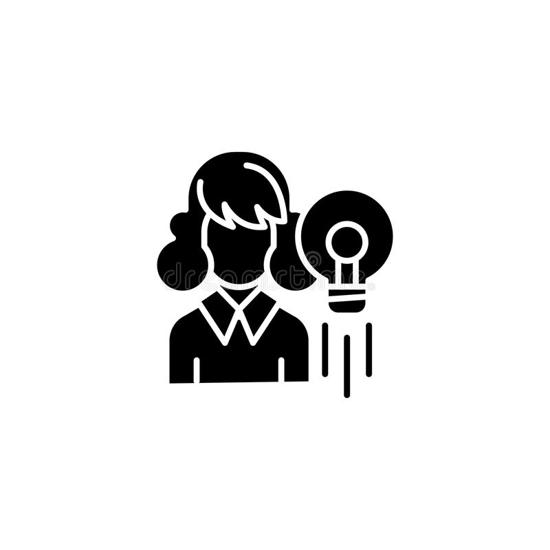 Inspiraci ikony czarny pojęcie Inspiracja płaski wektorowy symbol, znak, ilustracja ilustracji