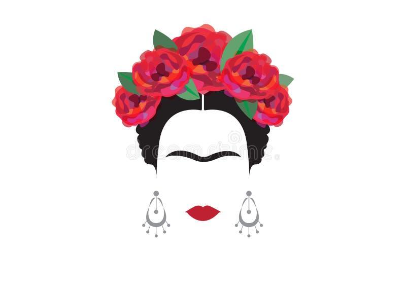 Inspiracja Frida, portret nowożytna Meksykańska kobieta z czaszka kolczykami, ilustracja z tłem przejrzystym royalty ilustracja