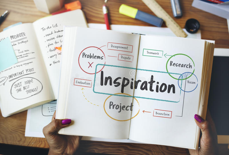 Inspiracja Kreatywnie pomysły Brainstorming pojęcie obrazy royalty free