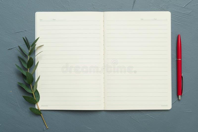 Inspiracja notatnika pustego czerwonego pióra podpalany liść obrazy stock