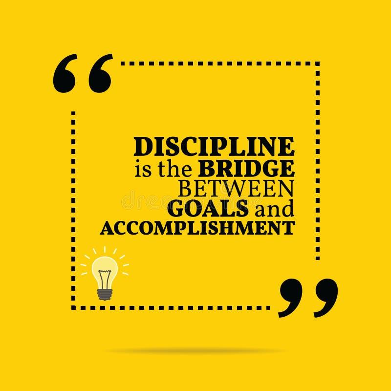 Inspiracyjna motywacyjna wycena Dyscyplina jest bridżowym betwe ilustracji