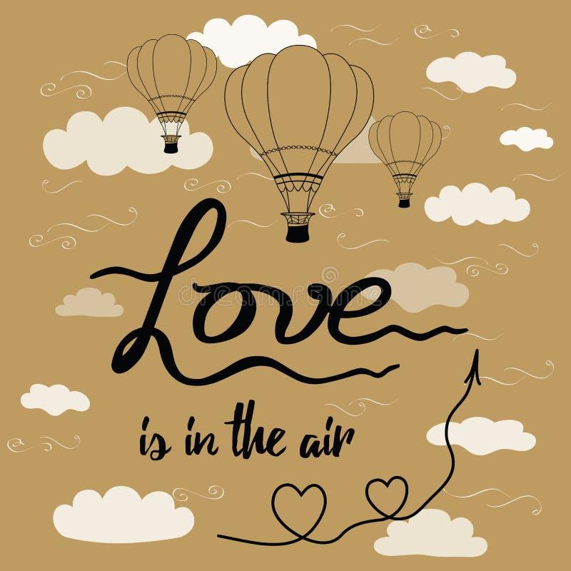 Inspiracyjna ręka rysująca zwrot miłość jest w powietrze dekorującym gorącym balonie, serca, strzała, niebo, chmury ilustracji