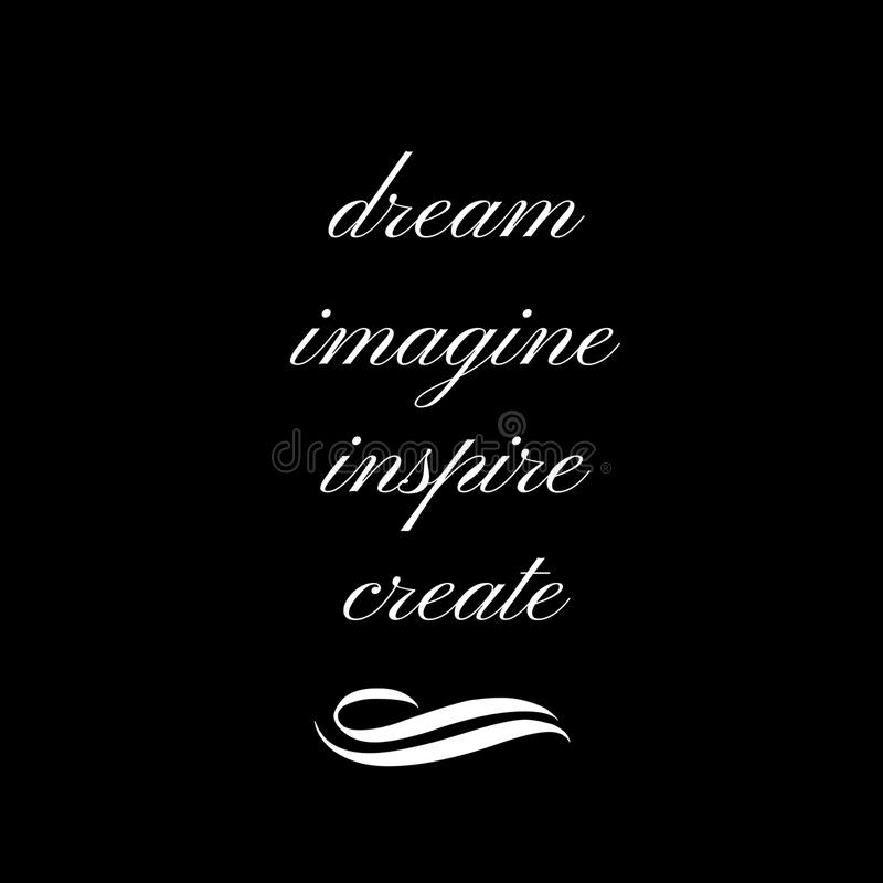 Inspiracyjna wycena: Marzy, Wyobraża sobie, Inspiruje, Tworzy, ilustracja wektor