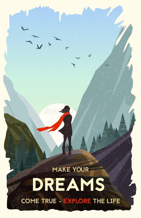 Inspiracyjny plakat Dziewczyna stoi samotnie na rockowym dopatrywanie zmierzchu w górach ilustracja wektor