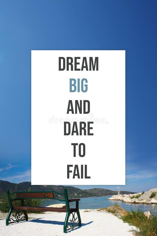 Inspiracyjny plakata sen duży nie udać się i wyzwanie zdjęcie royalty free