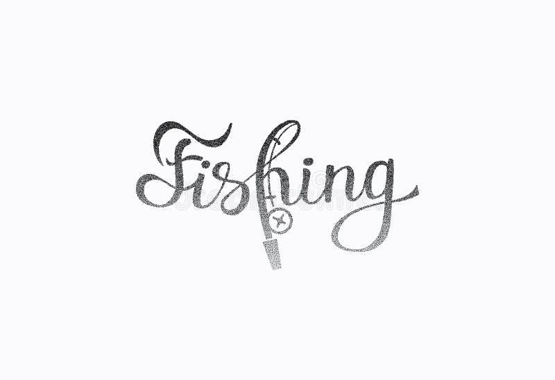 ` Inspirado indicado con letras de la pesca del ` de la frase de la mano libre illustration