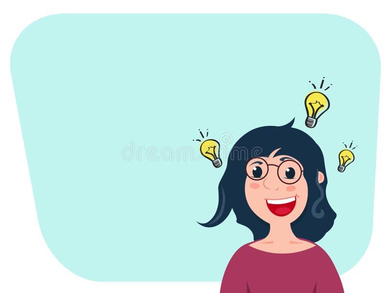 Inspiran al personaje de dibujos animados caucásico de la mujer con la idea para las noticias de lanzamiento o buenas Muestra de  imagen de archivo libre de regalías