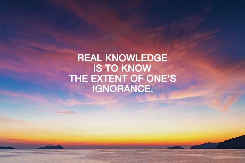 Inspiratie citaat - Echte kennis is de omvang van je onwetendheid te kennen royalty-vrije stock foto's