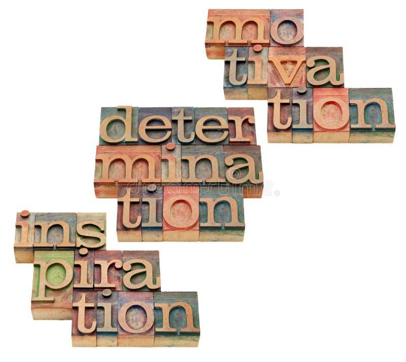 Inspiratie, motivatie, bepaling stock afbeelding