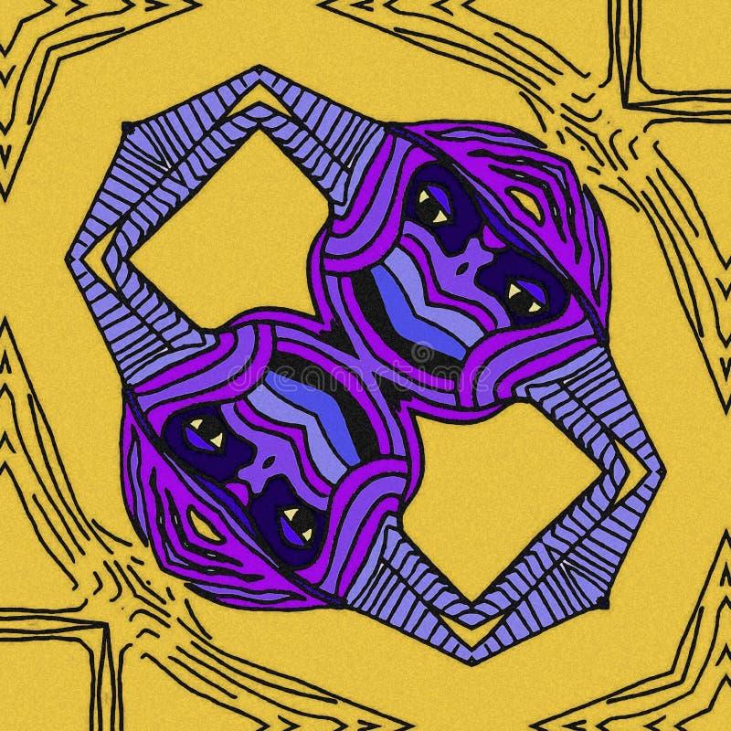 Inspiration abstraite dans les oiseaux Couleurs violettes et jaunes illustration de vecteur