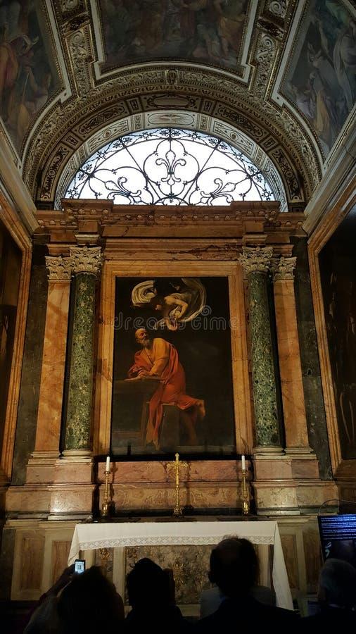 Inspiration av St Matthew, San Luigi deiFrancesi kyrka, Rome, Italien royaltyfria bilder