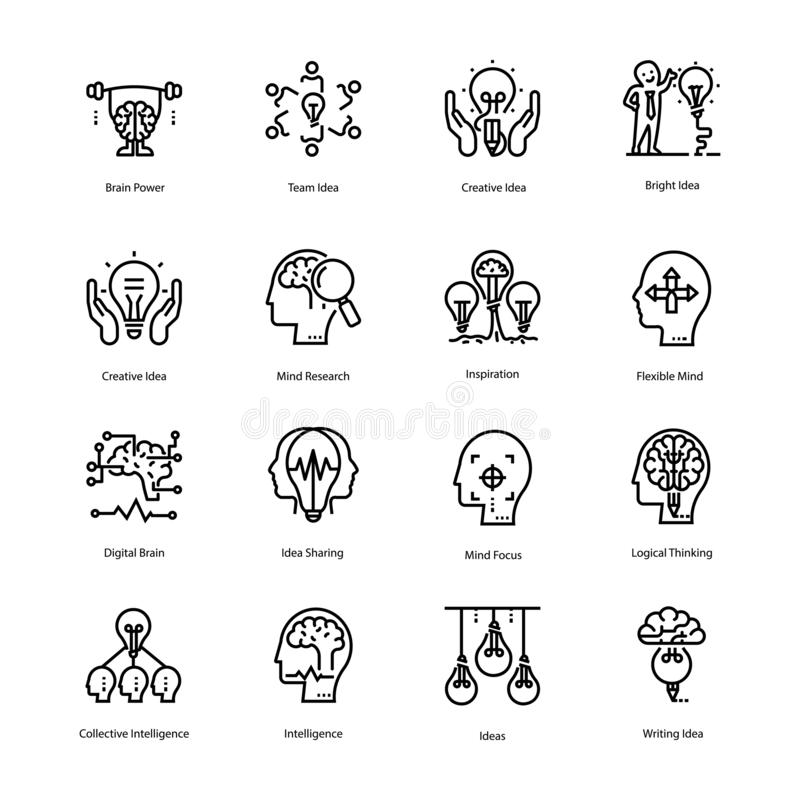 Inspiration and Brain Line Icons stock illustration